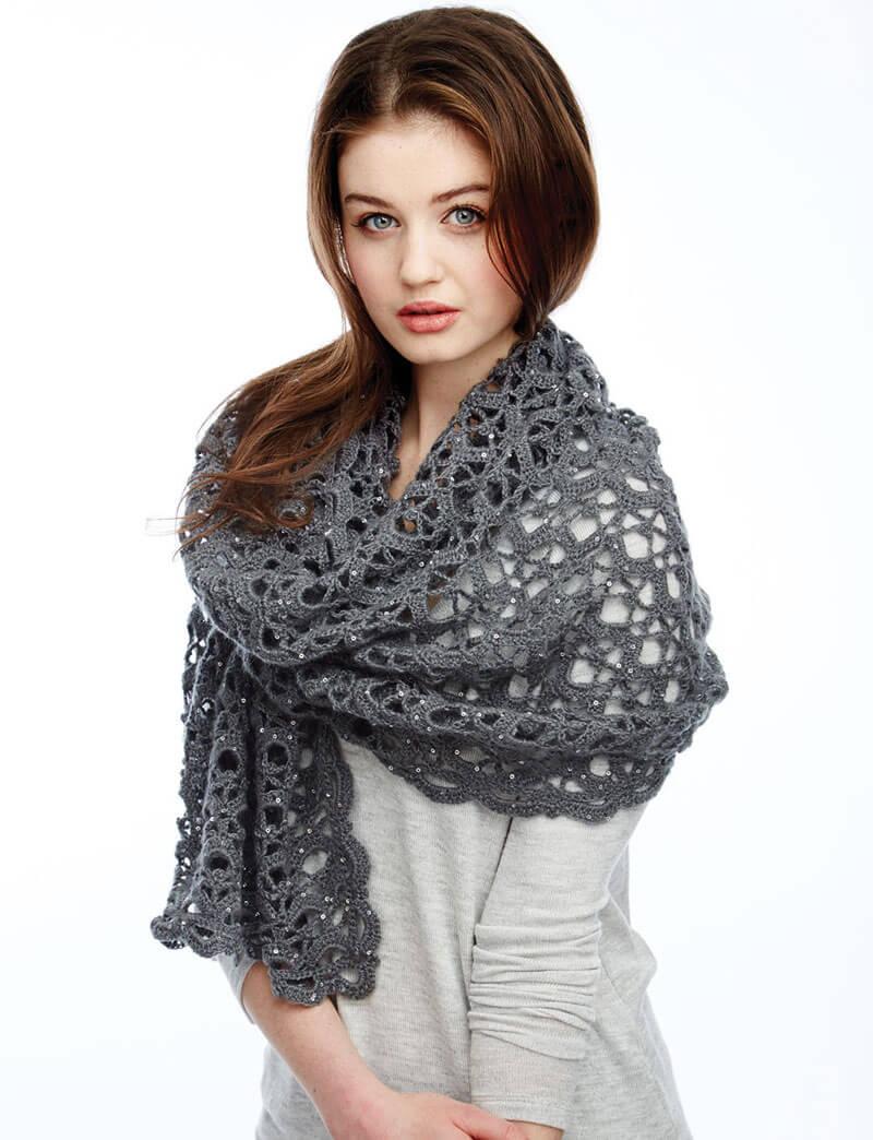 Вязание крючком шали палантины и шарфы